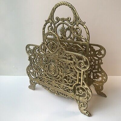 Large Victorian Style Heavy Solid Brass Ornate Letter Holder Magazine Rack Decor