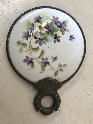 Antique Hand Held Beveled Mirror Brass & Porcelain Hand Painted Violets