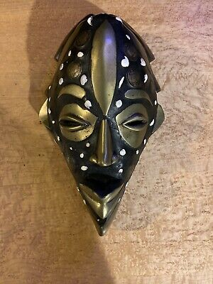 Rare Antique African Hand Carved Wood Cameroon Mask, Brass/Bronze Coins 1930s