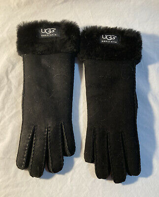 UGG Women's Sheepskin Gloves in black - size small -Suede leather