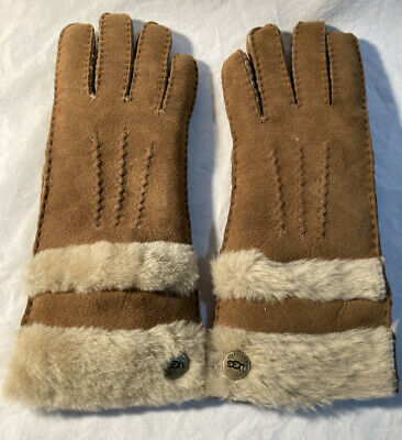 Ugg Brown Leather & Fur Gloves Size S