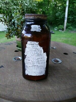 "Vintage Apothecary Amber ""Aspirin"" Jar,W/Label & Lid & Contents"