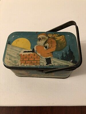 Vintage Tindeco Twas The Night Before Xmas Toy Lunchbox