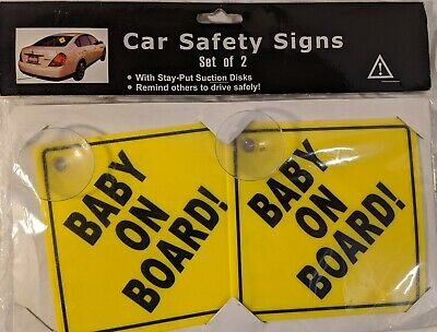 """Baby On Board"" Car Safety Signs - Set of 2"
