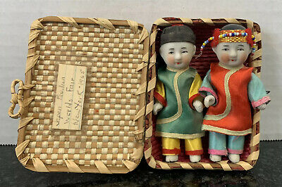 Vintage Japanese Ichimatsu Gofun mini dolls-Boy and Girl W/Basket Worlds Fair.