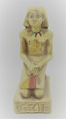 Beautiful Ancient Egyptian Painted Stone Statuette Of A Kneeling Servant Superb