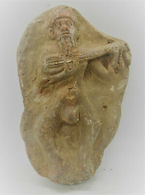 Old Near Eastern Ancient Terracotta Plaque Depicting Male Worshipper