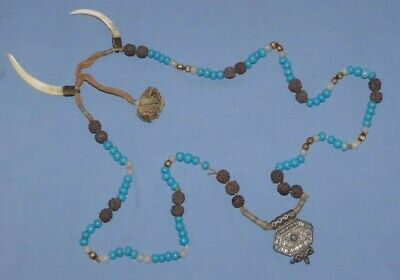 Antique Tribal Turquoise Bead Necklace Boars Tusk - African Witch Doctor Voo Doo