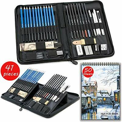 Sketch Set for Drawing with Sketch Book, 41-Piece Professional Sketch Kit and A