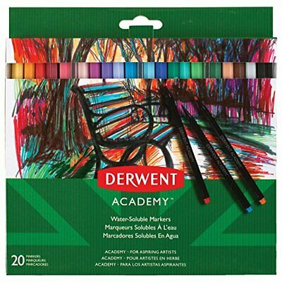 Derwent Academy Watersoluble Markers, Set of 20, High Quality, 98202