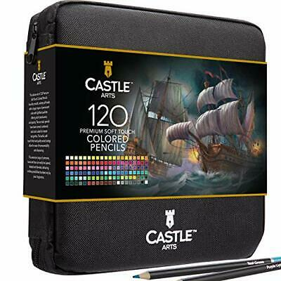 Castle Art Supplies 120 Coloured Pencils Zip-Up Set perfect for all artists.