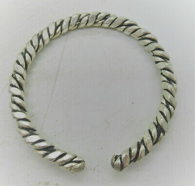 Ancient Viking Bronze Silvered Twisted Warriors Bracelet Circa 1000Ad