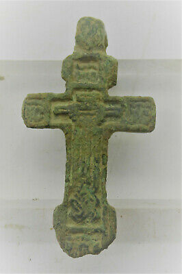 Late Medieval Religious Bronze Crucifix Cross Amulet Wearable