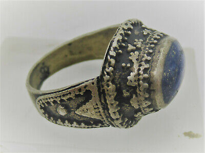 Beautiful Post Medieval Silver Gilt Islamic Ring With Lapis Lazuli Stone Insert