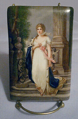 """ANTIQUE HAND PAINTED 4""""x 6"""" PORCELAIN PLAQUE BY WAGNER ON STAND"""