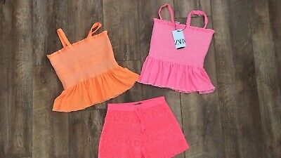 Bnwt Zara Girls Summer Tops X 2 And Shorts Age 11/12 Summer Bundle