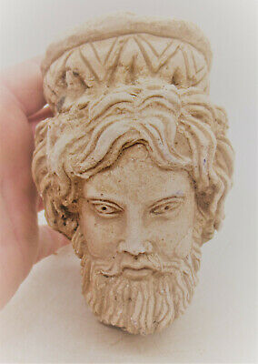 Rare Ancient Greek Stucco Statue Fragment Head Of Man Circa 500-400Bce