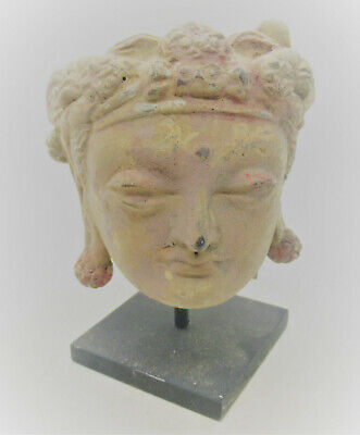 Circa 200- 300 Ad Ancient Gandhara Stucco Statue Fragment Head Of Buddha
