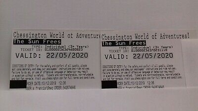Chessington World of Adventures Tickets x 2 Friday 22 May 2020 22/05/2020.
