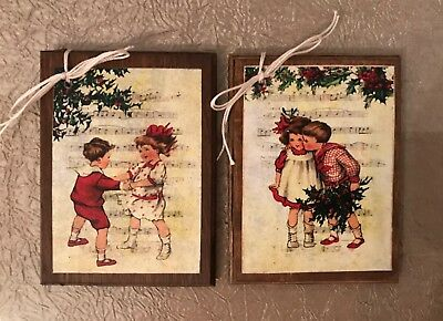 5 Handcrafted Wooden Breast Cancer ♋️ Christmas Ornaments HangTags Gift Tags