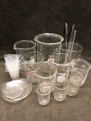 LOT 14 each Beaker Set, Glass Pyrex, Kimax 1000ml lab