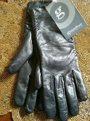 Grandoe Italian Finish Metisse Black Leather Microfleece Lined Gloves Size 7 NWT