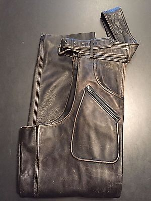 Harley Davidson Factory Distressed Brown Panhead Leather Chaps Lined Xl
