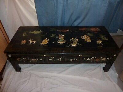Antique Chinese Lacquer Decorative Low 3 Drawer Table.