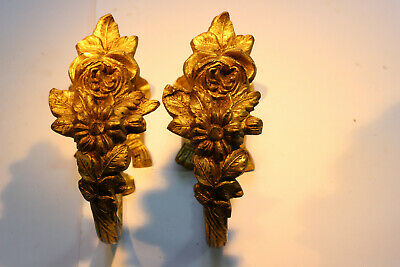 Pair Antique French Decorative Brass Curtain Holdbacks