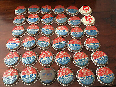 Lot Of 36 Diet Pepsi-Cola/7-Up Unused Bottle Caps Contains Sugar And Saccharin