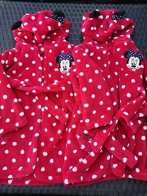 2 Baby Girl Minnie Mouse Dressing Gown 12-18 Months Disney