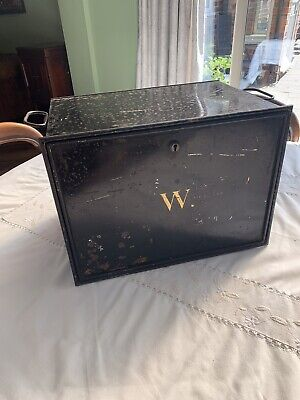 LARGE ANTIQUE VINTAGE DEED BOX - BLACK METAL BOX WITH HANDLES -great Patina