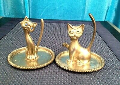 2 Vintage Silverplate Cat Ring Or Jewelry Holders, 1- Blue Eyes, Made Hong Kong