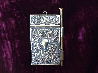 Antique Silver Plated Aide Memoire Dance Card Note Pad & Working Pencil