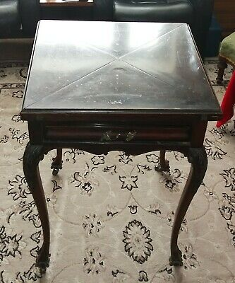 Victorian Envelope Folding Games Card Table With Castors & Drawer