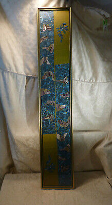Antique Chinese Silk Embroidered Robe Cuffs Butterfly Motif Framed Wall Hanging