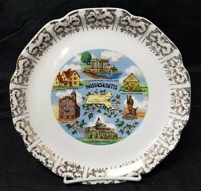 """Massachusetts State Collectible Souvenir Plate 9"""" Old State House of 7 Gables"""