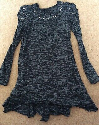 Girls George Black & Grey Long Top With Silver Studs.age 10-11.Great Condition.