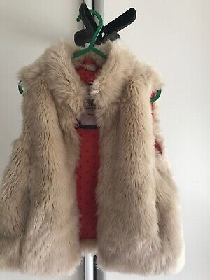 Girls Boden Cream Fur Gilet Age 4-5 Years