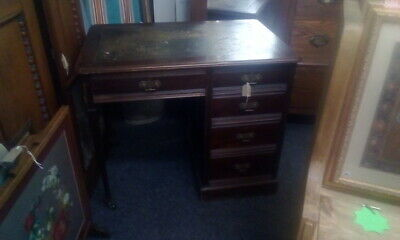 Antique Edwardian Mahogany Desk With Green Leather Top