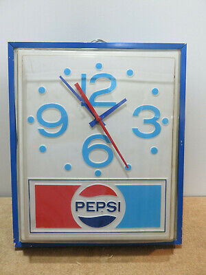 Vintage Pepsi Cola Advertising 1960's Electric Clock Works By Price Bros. Corp.