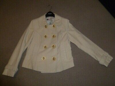 Womens Next Cream Short Pea Coat / Jacket - Size 12
