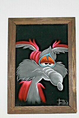 Velvet Framed Painting Wile E Coyote Looney Toons Vintage Animation signed