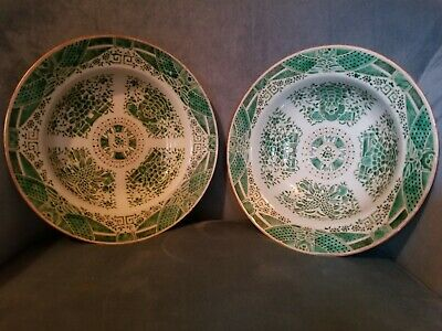 Chinese Fitzhugh Soup Bowls or Plates Two Green and White