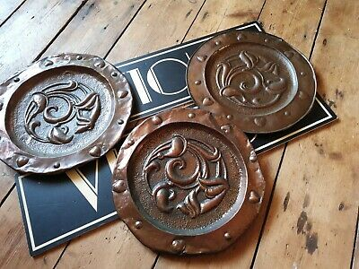 Original Antique vintage Arts and Crafts metal copper plates chargers