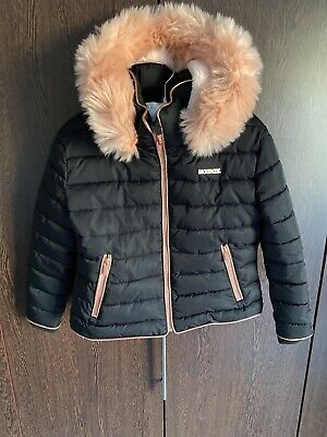 Girls McKenzie Black, Rose Gold & Pink Faux Fur Hood Coat Age 8-10
