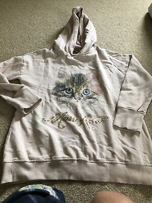 Next Girls Hoodie With Cat On The Front & 'mon Amie' In Sequins Age 11 Years