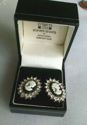 CAMEO + diamante LARGE STUD EARRINGS + black BOX gifts for her UK seller