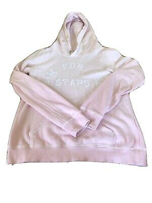 H&M Girls Pink Hoodie Age 12-14 Years 'Aim For The Stars' Embroidered On Front