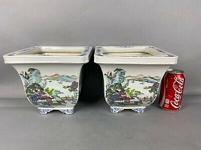19th/20th C. QianLong Marked Chinese Pair Famille-rose Square Flower Pots